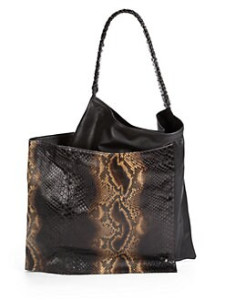 nada sawaya - Angelina Python & Leather Asymmetric Tote/Black & Brown
