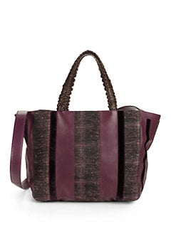nada sawaya - Retto Stripe Leather & Tweed Tote/Bordeaux