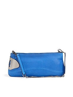 Halston Heritage - Convertible Pebbled Leather Clutch/Blue