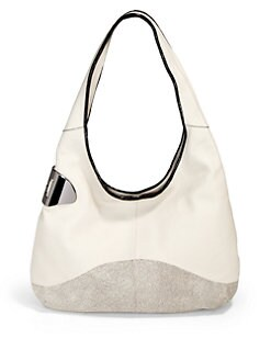 Halston Heritage - Texture Block Leather Sack Hobo