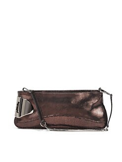 Halston Heritage - Convertible Metallic Crackled Leather Clutch