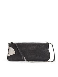 Halston Heritage - Convertible Pebbled Leather Clutch/Black