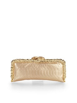 Clara Kasavina - Pav&#233; Snake Head Metallic Python Frame Clutch/Gold