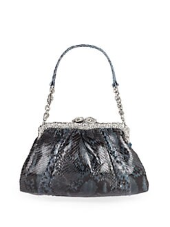 Clara Kasavina - Crystal Pav&#233; Snake Head Python Frame Shoulder Bag/Blue