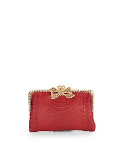 Clara Kasavina - Crystal Bow Python Frame Clutch