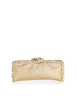 Clara Kasavina - Pavé Snake Head Caviar Leather Frame Clutch/Gold