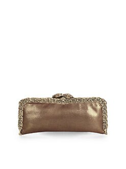 Clara Kasavina - Pave Snake Head Caviar Leather Frame Clutch/Bronze