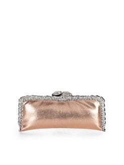 Clara Kasavina - Pave Snake Head Embossed Leather Frame Clutch/Pink