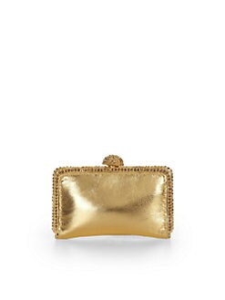 Clara Kasavina - Pave Ball Small Slim Leather Clutch/Gold