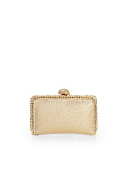 Clara Kasavina - Pave Ball Small Slim Crinkled Leather Clutch/Gold