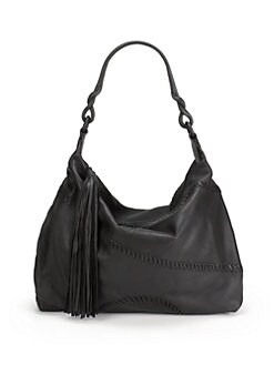 Carlos Falchi - Whipstitch Medium Leather Hobo/Black