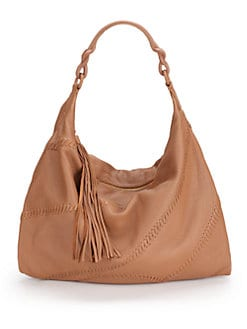 Carlos Falchi - Whipstitch Large Leather Hobo/Wood