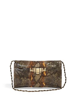 Stuart Weitzman - Python-Embossed Leather Convertible Clutch