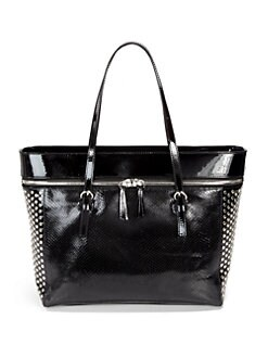 Stuart Weitzman - Snakeskin-Embossed Studded Leather Tote Bag