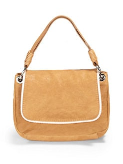 Stuart Weitzman - Textured Trim Leather Shoulder Bag