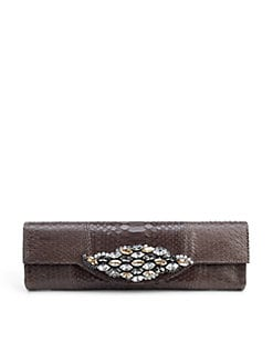 Carlos Falchi - Jewel-Flap Python Clutch