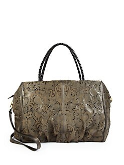 nada sawaya - Jimmy Flower Lasercut Satchel/Dark Brown