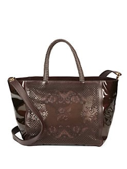 nada sawaya - Pizzo Patent Leather Tote/Dark Brown