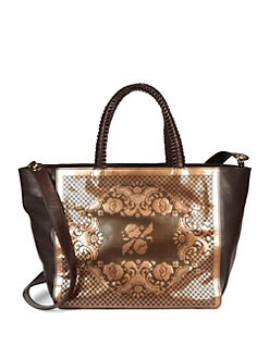 nada sawaya - Pizzo Patent Leather Tote/Bronze