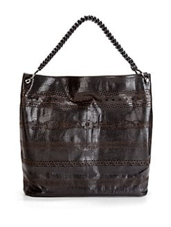 nada sawaya - Lara Lace Leather Hobo/Black Brown