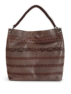 nada sawaya - Lara Lace Leather Hobo/Brown