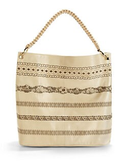 nada sawaya - Lara Lace Leather Hobo/Off White