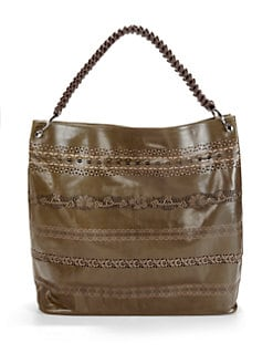 nada sawaya - Lara Lace Leather Hobo/Olive