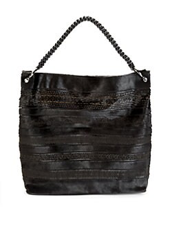 nada sawaya - Lara Lace Leather Hobo/Midnight Black