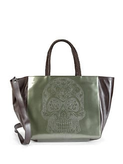 nada sawaya - Skull Patent Leather Tote/Green