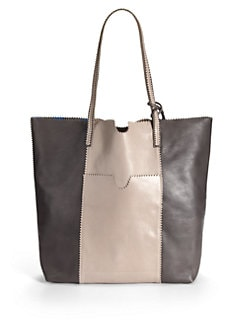 Carlos Falchi - Colorblock Leather Medium Shopping Tote/Charcoal