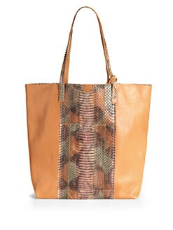 Carlos Falchi - Lauren Leather & Python Shopping Tote
