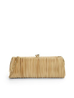 Franchi - Jasmine Pleated Silk Clutch/Gold