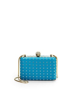 Franchi - Tori Embellished Box Clutch/Aquamarine
