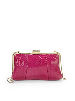 Franchi - Lindsay Snakeskin-Printed Clutch/Fuchsia