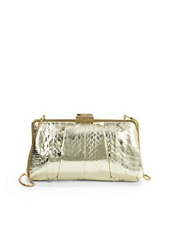 Franchi - Lindsay Snakeskin-Printed Clutch/Gold