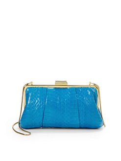 Franchi - Lindsay Snakeskin-Printed Clutch/Blue