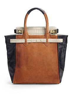 Be & D - Mr. Vogel Croc-Embossed Lambskin Tote