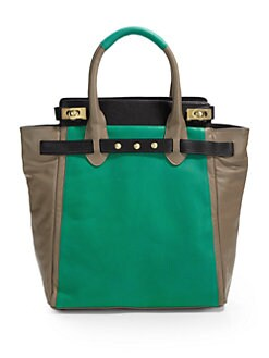 Be & D - Mr. Vogel Colorblock Lambskin Tote/Green