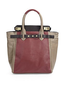 Be & D - Mr. Vogel Colorblock Lambskin Tote/Bordeaux