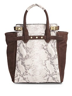 Be & D - Mr. Vogel Python-Embossed Calfskin Tote