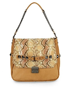 Be & D - Woodstock Snakeskin Print Large Shoulder Bag