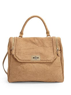 Be & D - Garrison Python-Embossed Calfskin Satchel