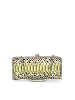 Clara Kasavina - Long Slim Python & Crystal Clutch/Neon Green