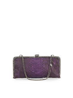 Clara Kasavina - Long Slim Python & Crystal Clutch/Purple