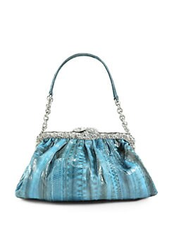 Clara Kasavina - New Tamara Watersnake & Crystal Pave Frame Shoulder Bag/Aqua