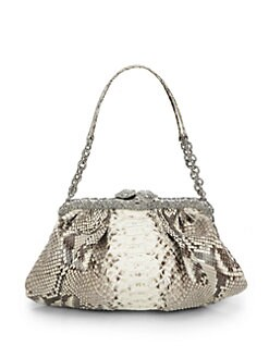 Clara Kasavina - New Tamara Python & Crystal Pave Frame ShoulderBag/Natural