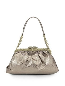 Clara Kasavina - New Tamara Leather & Crystal Pave Frame Shoulder Bag/Bronze