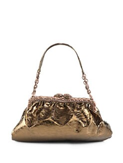 Clara Kasavina - New Tamara Leather & Crystal Pave Framed Shoulder Bag/Copper