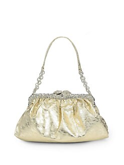 Clara Kasavina - New Tamara Leather & Crystal Pave Framed Shoulder Bag/Champagne