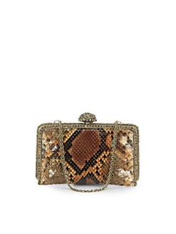 Clara Kasavina - Tina Pave Ball Small Slim Python Clutch/Caramel